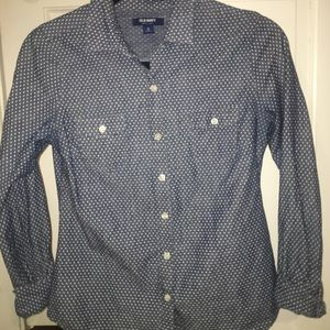 Denim polka dot button up shirt